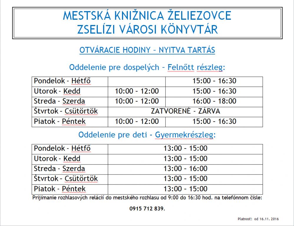 d4126be65fdd8 Otváracia doba MsK - Oficiální stránky mesta Želiezovce